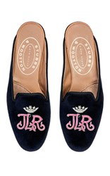 Stubbs And Wootton Gothic Pink Crown M'onogrammed Hand Embroidered Mule Navy