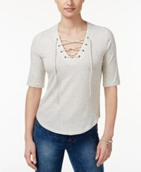 American Rag Three Quarter Sleeve Lace Up Top Only At Macy's Egret
