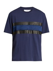 Ami Alexandre Mattiussi Satin Panel Crew Neck Cotton T Shirt Blue Multi