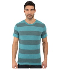 Alternative Apparel Eco Crew T Shirt Aqua Teal Weathered Stripe Men's T Shirt Blue