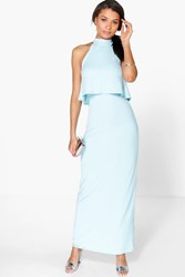 Boohoo High Neck Double Layer Maxi Dress Sky