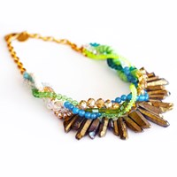 Shh By Sadie One Of A Kind Worship Necklace Green Lime