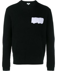 Kenzo Logo Crest Ribbed Wool Sweater Black White