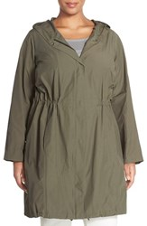 Plus Size Women's Eileen Fisher Hooded Long Jacket Oregano