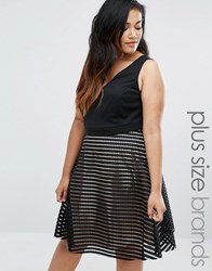 New Look Plus Plunge Mesh Stripe Skater Dress Black