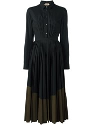 N 21 No21 Flared Pleated Shirt Dress Black