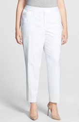Plus Size Women's Sejour 'Scuba' Ankle Pants White