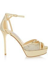 Jimmy Choo Laurita Glitter Finished Leather Sandals
