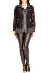 City Chic Plus Size Women's 'Mod' Lace Biker Jacket