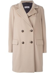Alberto Biani Double Breasted Coat Nude Neutrals