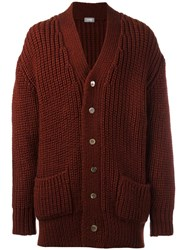 Comme Des Garcons Vintage Chunky Knit Cardigan Red