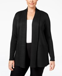 Jm Collection Plus Size Ribbed Open Front Cardigan Only At Macy's Deep Black