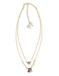 Lonna And Lilly Mother Of Pearl Cubic Zirconia Double Chain Pendant Necklace Burgundy