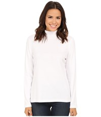 Pendleton L S Mock Neck Cotton Rib Tee White Women's Long Sleeve Pullover