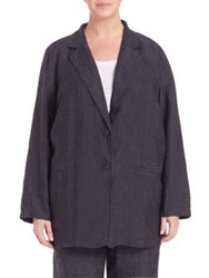 Eileen Fisher Plus Size Delave Oversized Linen Blazer Denim