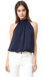 Alice Olivia Maris Gathered Halter Top Navy