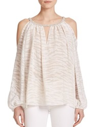 Ramy Brook Cain Printed Cutout Blouse Summer White