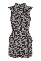 Topshop Tall Scratch Floral Playsuit Multi