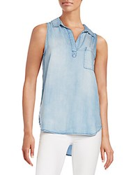 Saks Fifth Avenue Red Denim Sleeveless Top Blue