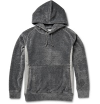 White Mountaineering Jersey Panelled Fleece Hoodie Gray