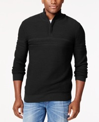 Alfani Black Vito Quarter Zip Sweater Only At Macy's Deep Black