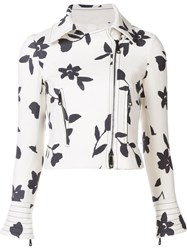Carolina Herrera Printed Motorcycle Jacket White
