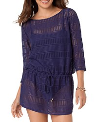 Anne Cole Boat Neck Crochet Cover Up Navy Blue