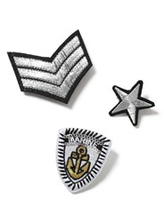 Topman Black And White Military Fabric Badge Pack