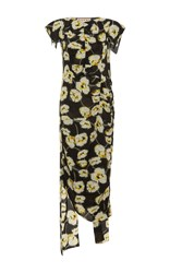 Marni Cap Sleeve Floral Dress Black