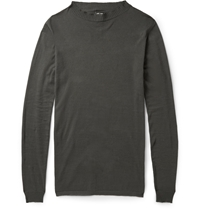 Rick Owens Crew Neck Cotton Blend Sweater Gray