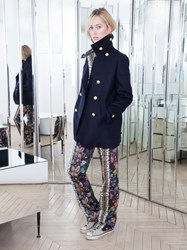 Alexis Mabille Peacoat In Wool And Cashmere Cloth Navy Blue