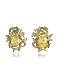 Bernard Delettrez Butterflies Bronze Earrings W Yellow Zircons Gold
