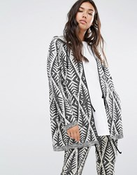 Billabong Oversized Zip Hoodie With Drawstring Hem In Abstract Design Multi