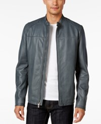 Inc International Concepts Men's Elevated Leather Moto Jacket Only At Macy's Light Grey