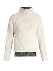 Rag And Bone Ida Contrast Back Wool Sweater Ivory Multi