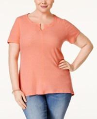 Styleandco. Style And Co. Plus Size Split Neck T Shirt Only At Macy's Peach Zing