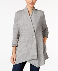 Styleandco. Style Co. Petite Heathered Draped Cardigan Only At Macy's Light Grey Heather