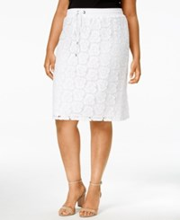 Calvin Klein Plus Size Drawstring Waist Lace Skirt Soft White