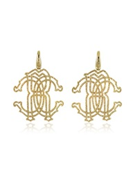 Roberto Cavalli Rc Icon Gold Tone Metal Earrings W Crystals