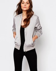 New Look Sateen Bomber Jacket Stone