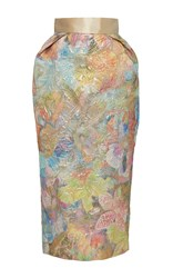 Sandra Mansour Impossible Cieux Brocade Midi Skirt Gold Yellow Pink