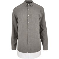 River Island Mens Grey Double Layer Longline Shirt