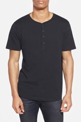 Alternative Apparel Cotton And Modal Baseball Henley T Shirt Black