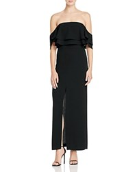 Keepsake Two Fold Ruffle Off The Shoulder Gown Black