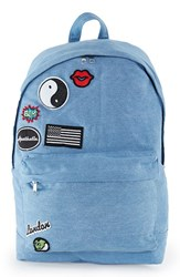 Topman Men's Denim Backpack With Patches