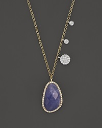 Meira T 14K Yellow And White Gold Tanzanite And Diamond Necklace 16 Gold Blue
