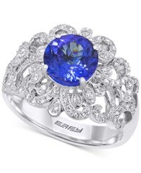 Effy Collection Effy Tanzanite 1 9 10 Ct. T.W. And Diamond 1 2 Ct. T.W. Ring In 14K White Gold Purple