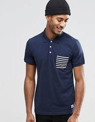 Jack And Jones Jack And Jones Polo Shirt With Contrast Stripe Pocket Navy