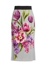 Dolce And Gabbana Floral Print Cady Midi Skirt Grey
