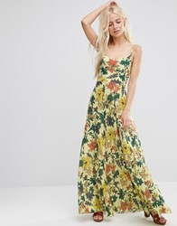 Asos Occasion Cami Maxi Dress With Pleated Skirt In Yellow Floral Print Multi